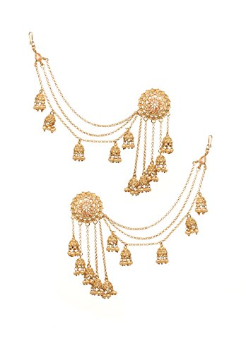 (Bindhani Fashion Bollywood Jewellery Traditional Ethnic Bridal Bride Wedding Bridesmaid Gold Plated Kundan Pearl Drop Jhumka Jhumki Head chain Indian Bahubali Earrings Jewelry For Women)