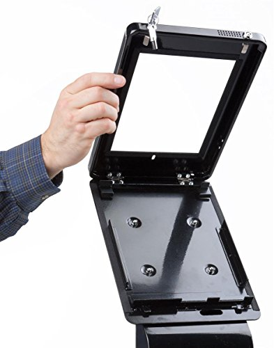 iPad Floor Kiosk, with Power Outlet and Sign Holder, Dual Locking Enclosure, for iPad 2-4 and Air (Black Aluminum) by Displays2go (Image #3)'