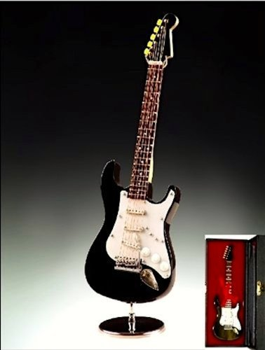 Buy cheap black electric guitar miniature replica case musical music instrument decor gift
