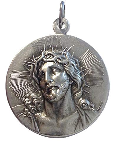 (The Holy Face of Jesus Christ Medal - Ecce Homo (Behold the Man) - Real Italian Masterpiece BIg Size - 32 mm - Made in HIGH RELIEF)