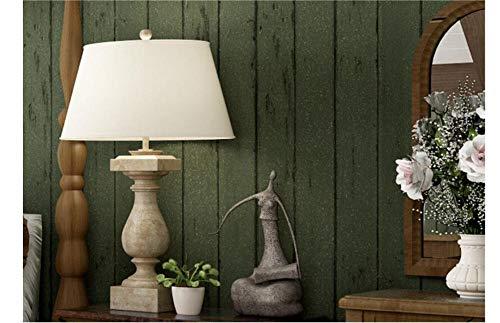 Raiev Wooden 3D Wallpaper Non Wovens Nostalgic Bedroom Living Room Background Striped Wallpaper Dark Green -400X300Cm ()