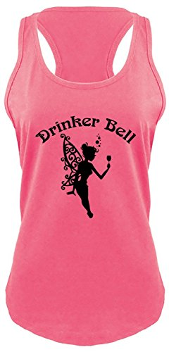 Ladies Racerback Tank Drinker Bell Cute Funny Party Alcohol Lover Fairy Shirt Hot Pink ()
