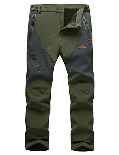 LASIUMIAT Mens Ski Pants Warm Pants Men Hiking Pants Mens Cargo Pants Fleece Lined Pants Men Snowboard Pants (Snowboard Green Mens Pants)
