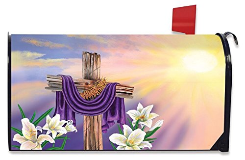 Briarwood Lane Easter Cross Magnetic Mailbox Cover Lilies Holiday Standard by Briarwood Lane