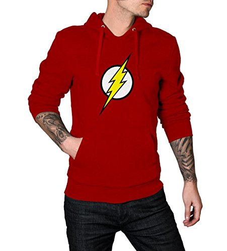 Decrum The Flash Red Logo Superhero Pullover Hoodie For Men 2XL