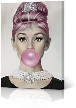 HB Art Design Pink Haired Audrey Hepburn Pink Bubble Gum Chewing Gum Colored Portrait Iconic Pop Art Canvas Wall Art Print Office Living Room Dorm Bedroom Modern Home Decor Ready to Hang