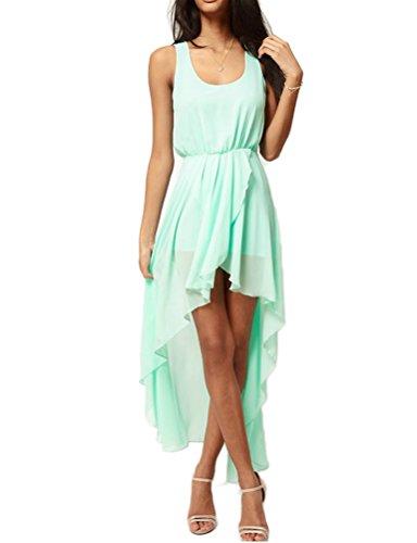 Mantos Women's Sleeveless Flowy Solid Versatile High Low Dress Skirt