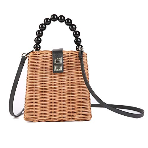 Hera Amour Small Wicker Bag | Crossbody Summer Tote with Top Handles (Small, ()