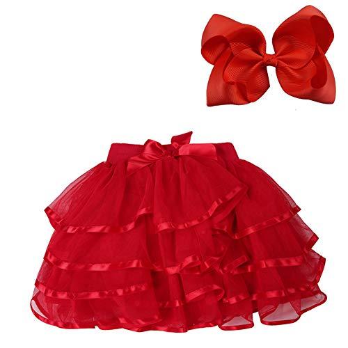 BGFKS 4 Layered Tulle Tutu Skirt for Girls with Matching Hairbow,Girl Ballet Tutu Skirt (Red, 5-7 Years)]()