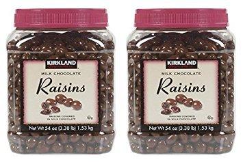Bulk Chocolate Covered Raisins - Kirkland Signature Milk Chocolate Raisins Covered in Milk Chocolate: 54 Oz (3.38lb) - 2 Pack