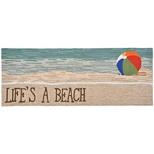 Liora Manne FTPR5151612 Front Porch Whimsy Coastal Life's A Beach Indoor/Outdoor Hallway Runner Rug 24