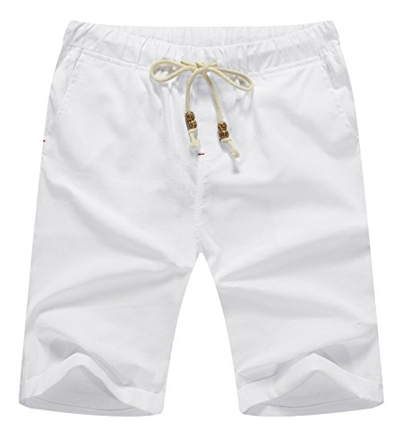 NITAGUT Men's Linen Casual Classic Fit Short White L by NITAGUT