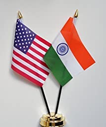 United States of America & India Friendship Table Flag Display 25cm (10\