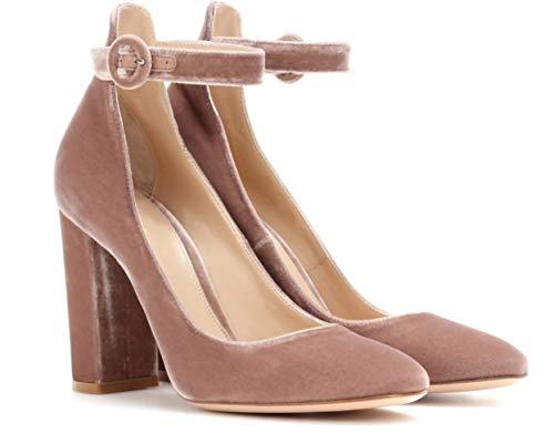 Heels Damen High Jane Pink Mode Bankett Chunky Mary Damen Hochzeit Samt Schuhe Schuhe Urlaub Heel Shiney Einzelne Szvx8fn