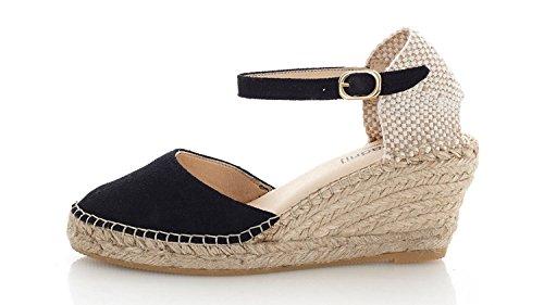 [espadrij] l'originale Womens Biarritz Velour Suede Leather Sandals Noir qOTfvRsG