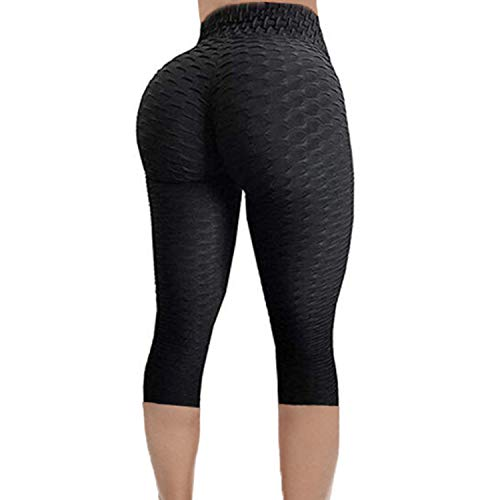 (FITTOO Women's Textured Booty Scrunch Capri Leggings Ruched Yoga Pants Running Gym Trousers Black M)