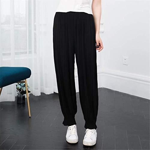 Pantaloni Nero Pantalone Donna Ragazza Pieghe Pluderhose Hipster Elegante Primaverile Basic Autunno Libero Elastica Vita Moda Jogging Tempo Monocromo Lunga dUwwvIRq