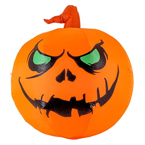 Halloween Haunters 4 Foot Inflatable Smiling Pumpkin, Scary Smile Face Jack-O-Lantern LED Lights Indoor Outdoor Yard Lawn Prop Decoration - Blow Up Haunted House Entryway Party Display ()