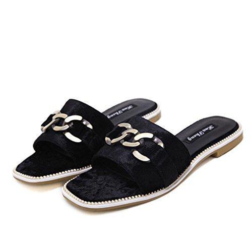 borla abierto del dedo zapatos planos verano ocasionales GAOLIXIA Mulas mulas del bombas pie hebilla lateral ante Black zapatillas YgxYUqw7