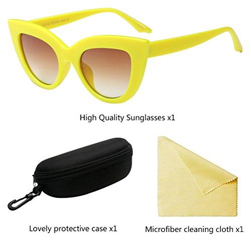 Estrella Ojo de Yellow Sol Gafas de Mismo Anteojos Estilo Moda Señoras Gato Los Marco Mujer Zhuhaitf wqxS5I