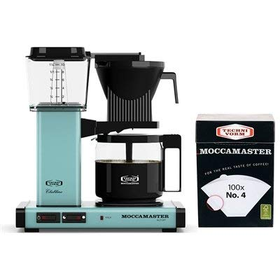 Technivorm Moccamaster KBG Coffee Brewer 10-Cup with Glass Carafe with number 4 Filter (Turquoise)