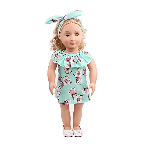 2PC Clothes Dress for 18 Inch American Girl, Doll Accessory Costumes Girl Dress+Hat Toy Clothes Party (Green -