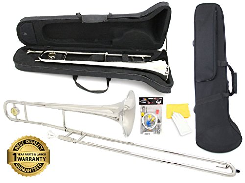 D'Luca 750N 750 Series Plated Bb Tenor Slide Trombone, Professional Case, Cleaning Kit, Nickel by D'Luca