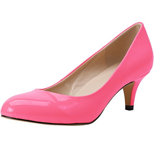 Work Zbeibei neon Round Court Heels 3321 Pumps Slender Women's rose Leather Mid Toe 0rv0q5w