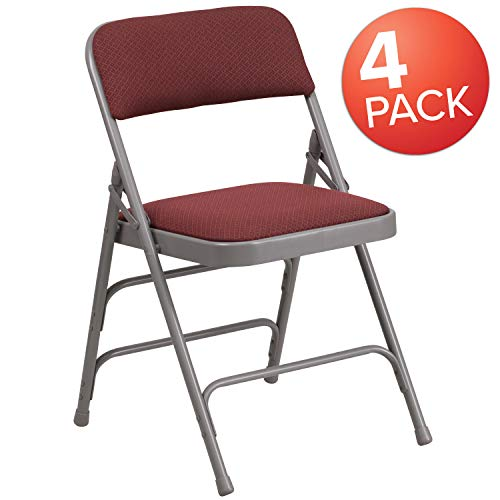 (Flash Furniture 4 Pk. HERCULES Series Curved Triple Braced & Double Hinged Burgundy Patterned Fabric Metal Folding Chair)