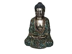 "Buda meditando estatua de plata verde Robe figura 9,5""H"