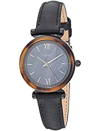 Women's Carlie Mini Quartz Leather Watch, Color: Black, 12 (Model: ES4650)