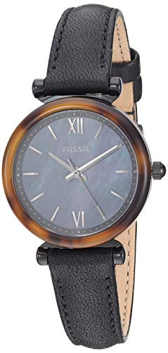 Fossil Women's Carlie Mini Stainless Steel Quartz Leather Strap, Black, 12 Casual Watch (Model: ES4650) - Ladies Fossil Mini