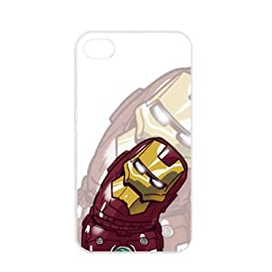Popular Cute Cartoon Iron Man Apple iPhone 4 / 4s TPU Soft Black or White case (White)