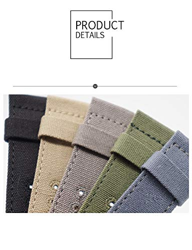 20mm Rugged Khaki Stitched Canvas Watch Strap for Men and Women NATO Straps Dual Cotton Canvas Watch Bands by CHICLETTIES (Image #1)