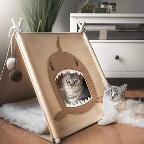 funny supply Cat Shark Tent Cat House Felt Cat Crinkle Tunnel Funny Cat Bed with Cat Ball Toys and Catnip