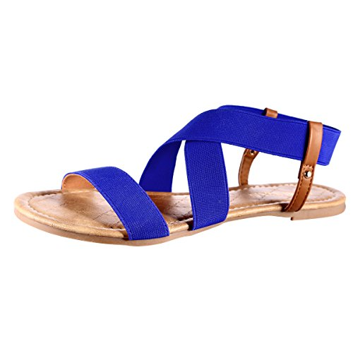 MUDAN Elastic Slingback Flit Flops Sandal (8 B (M) US, - Royal Elastics Flats