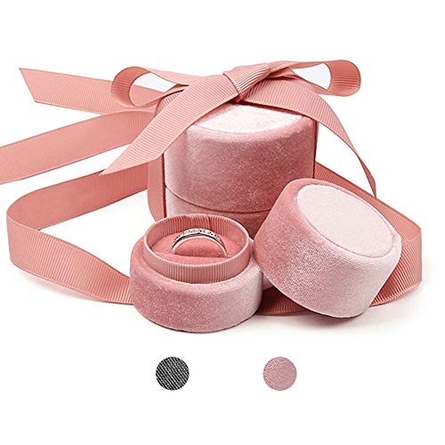Bearda Cute Pink Ring Box - Small Premium Velvet Round Ring Earring Jewelry Storage Organizer Gift Box with Elegant Silk Bow for Proposal, Engagement, Birthday, Christmas, Anniversary (Ring Box)