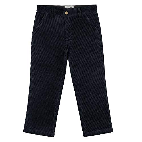 Buyless Fashion Boys Pants Flat Front Straight Cut Wide Corduroy Pattern - 17W1424-NVY-4