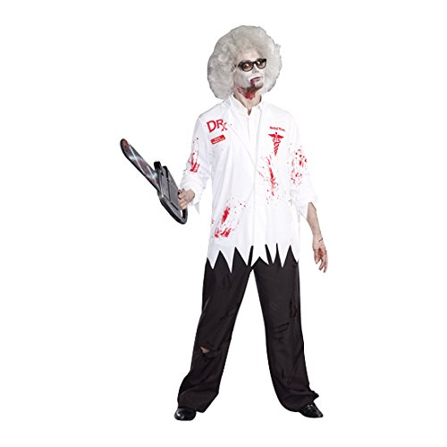 Dreamguy Men's Dr. Hugh B. Dead Lab Coat Costume, White/Red, Medium