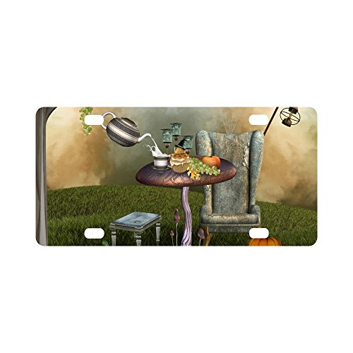 INTERESTPRINT Funny Surrealist Banquet with Autumnal Fruits Pumpkin and Teapot Metal License Plate Tag Sign Decor for Car Woman Man - 12