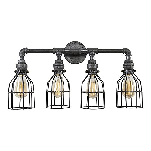 West Ninth Vintage Industrial Quadruple Iron Pipe Vanity Light With Cages