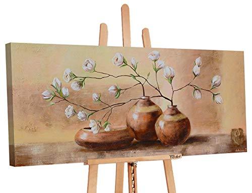 YS-Art | Cuadro Pintado a Mano Maceta con Flores | Cuadro Moderno acrilico | 115x50 cm | Lienzo Pintado a Mano | Cuadros Dormitories | unico | Castano