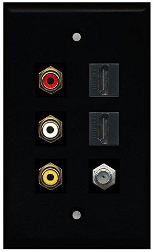 Rca Black Plate - RiteAV - 3 x RCA - 2 X HDMI and 1 x Coax Cable TV Port Wall Plate - Black