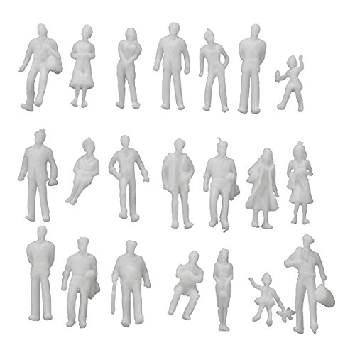 Gimax BIFI-100Pcs Model Train People Figures Scale HO TT (1 to 100), Assorted Style, Great Collectibles-Light Grey