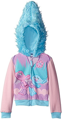 Trolls Little Girls' Twins Costume Hoodie, Light Pink/Light Blue, L-6X (Twin Girl Costumes)
