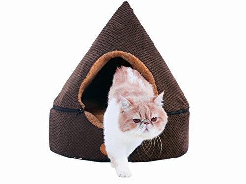 PLS Birdsong Pointy Dog Cave Cuddle Dog Bed, Soft Dog House, Two Modes, Pet Bed, Dog Beds for Medium Dogs, Completely Washable, Brown, Large For Sale
