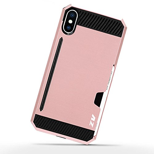 iPhone X Case - Zizo METALLIC HYBRID Cover w/ Credit Card Slot And ID Holder [Heavy Duty And Protective] w/ Slim Dual Layer Wallet Case
