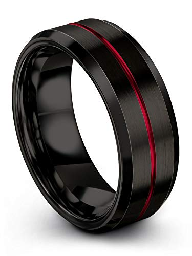Chroma Color Collection Tungsten Carbide Wedding Band Ring 8mm for Men Women Black Interior with Red Center Line Bevel Edge Brushed Polished Comfort Fit Anniversary Size 8.5 (Ladies Rose Red Inlay)