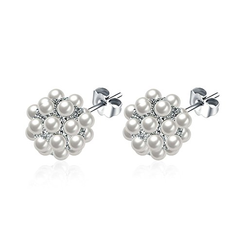 AmDxD Jewelry Silver Plated Stud Earrings for Women Cluster Beads Faux Pearl 12X12MM