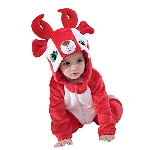 Unisex Baby Flannel Romper Animal Onesie Costume Hooded Cartoon Outfit Suit (Elk, -
